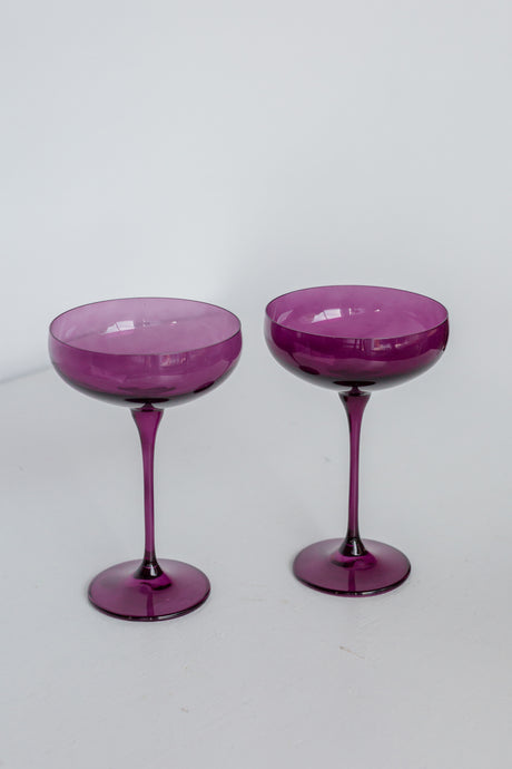 Estelle Colored Champagne Coupe Stemware - Set of 2 {Amethyst}