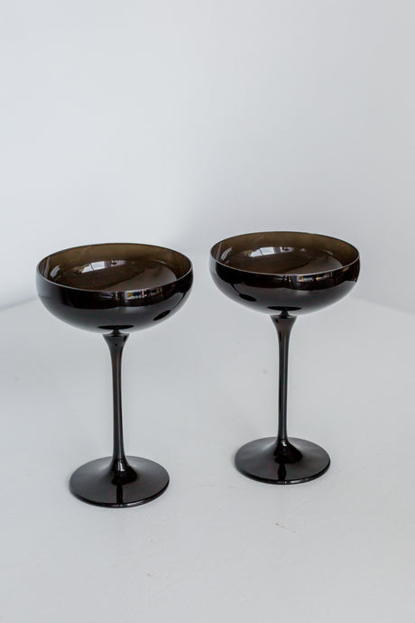 Estelle Colored Champagne Coupe Stemware - Set of 2 {Black Onyx}