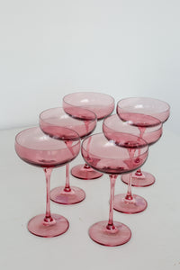 Estelle Colored Champagne Coupe Stemware - Set of 6 {Rose}