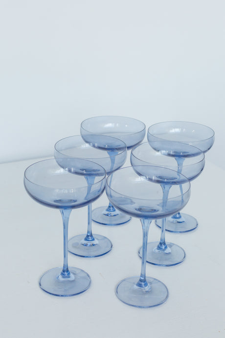 Estelle Colored Champagne Coupe Stemware - Set of 6 {Cobalt Blue}