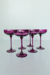 Estelle Colored Champagne Coupe Stemware - Set of 6 {Amethyst}