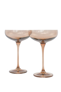Estelle Colored Champagne Coupe Stemware - Set of 2 {Amber Smoke}