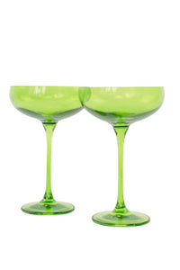 Estelle Colored Champagne Coupe Stemware - Set of 6 {Forest Green}
