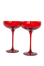 Load image into Gallery viewer, Estelle Colored Champagne Coupe Stemware - Set of 6 {Red}