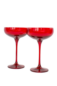 Estelle Colored Champagne Coupe Stemware - Set of 6 {Red}