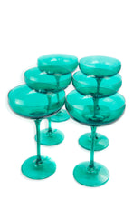 Load image into Gallery viewer, Estelle Colored Champagne Coupe Stemware - Set of 6 {Emerald Green}