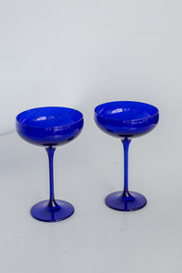 Estelle Colored Champagne Coupe Stemware - Set of 6 {Royal Blue}