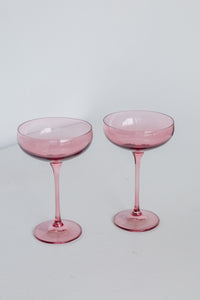 Estelle Colored Champagne Coupe Stemware - Set of 2 {Rose}