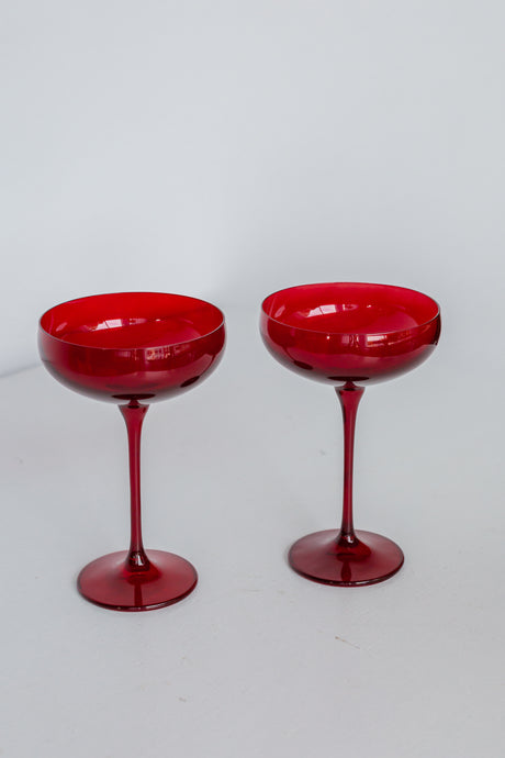 Estelle Colored Champagne Coupe Stemware - Set of 2 {Red}