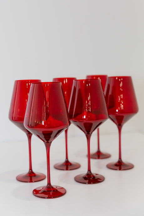 Estelle Colored Wine Stemware - Set of 6 {Red}