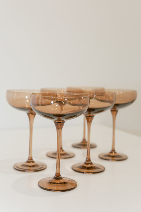 Estelle Colored Champagne Coupe Stemware - Set of 6 {Amber Smoke}