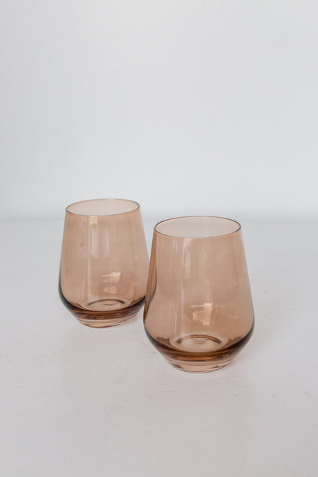 Estelle Colored Wine Stemless - Set of 2 {Amber Smoke}