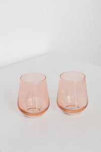 Estelle Colored Wine Stemless - Set of 2 {Blush Pink}