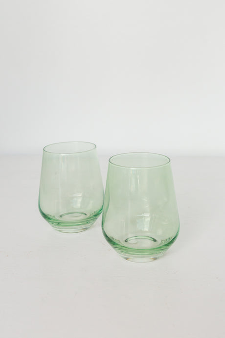 Estelle Colored Wine Stemless - Set of 2 {Mint Green}