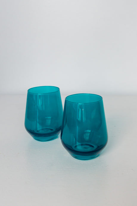 Estelle Colored Wine Stemless - Set of 2 {Teal}