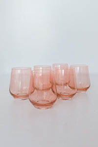 Estelle Colored Wine Stemless - Set of 6 {Coral Peach Pink}