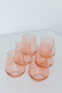 Estelle Colored Wine Stemless - Set of 6 {Blush Pink}