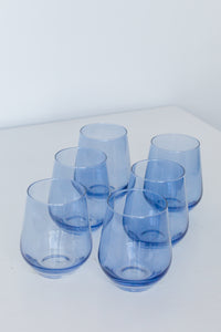 Estelle Colored Wine Stemless - Set of 6 {Cobalt Blue}