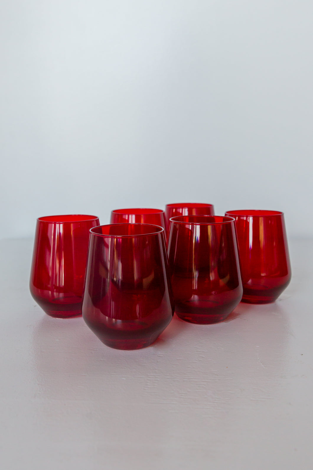Estelle Colored Wine Stemless - Set of 6 {Red}