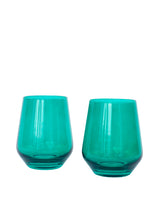 Load image into Gallery viewer, Estelle Colored Wine Stemless - Set of 2 {Emerald Green}
