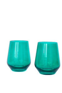 Estelle Colored Wine Stemless - Set of 6 {Emerald Green}
