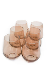 Estelle Colored Wine Stemless - Set of 6 {Amber Smoke}