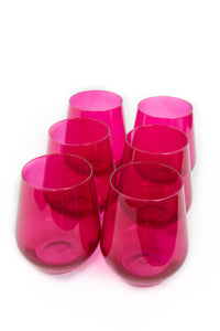 Estelle Colored Wine Stemless - Set of 6 {Fuchsia}