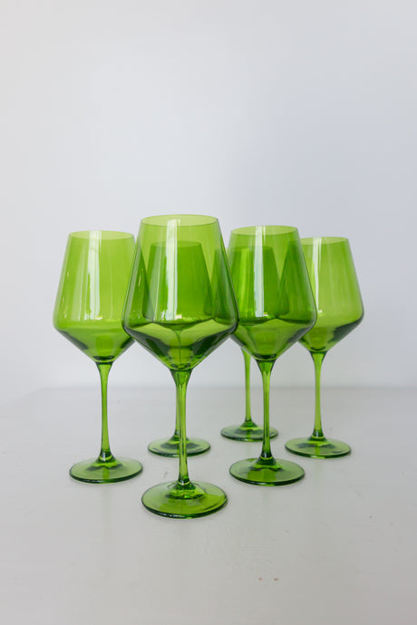 Estelle Colored Wine Stemware - Set of 6 {Forest Green}