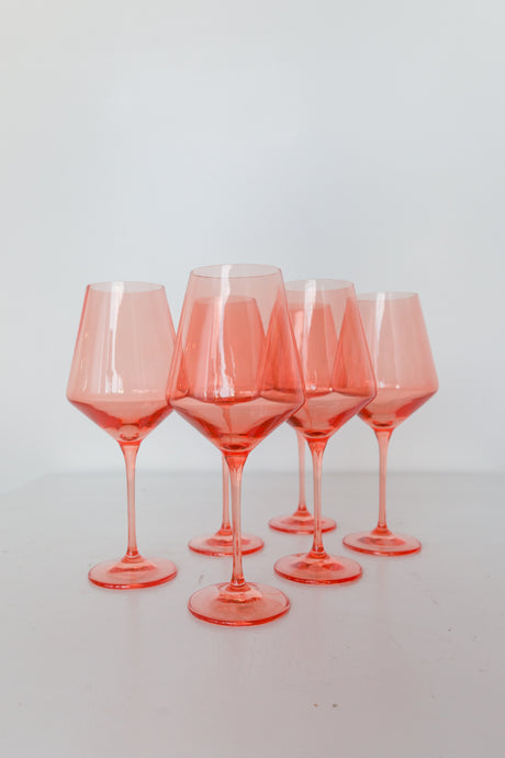 Estelle Colored Wine Stemware - Set of 6 {Coral Peach Pink}