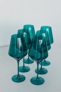 Estelle Colored Wine Stemware - Set of 6 {Emerald Green}