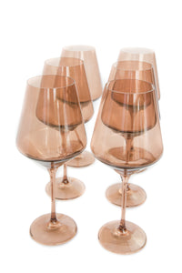Estelle Colored Wine Stemware - Set of 6 {Amber Smoke}