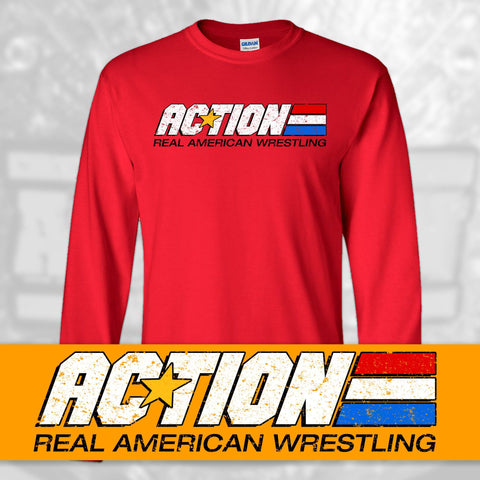 "ACTION Wrestling ""Real American Wrestling"" Long Sleeve T-Shirt"