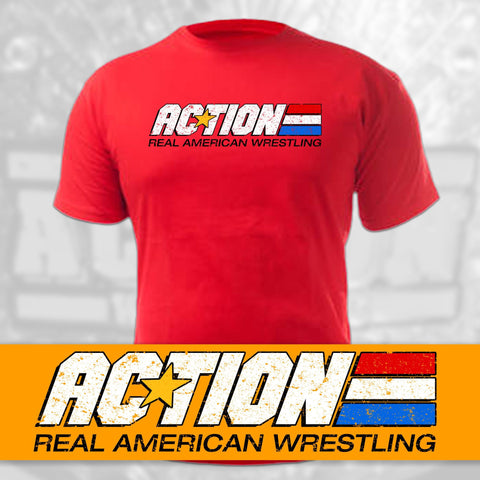 "ACTION Wrestling ""Real American Wrestling"" Premium T-Shirt"