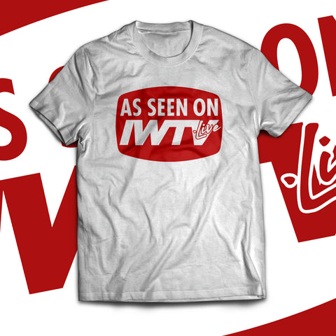 """As Seen on IWTV"" Red & Transparent Logo Soft T-Shirt"