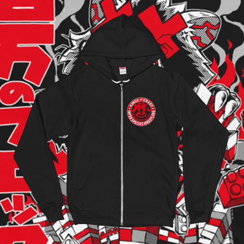 "Inter Species Wrestling ""One Million Blocks"" Zip-Up Hoodie"