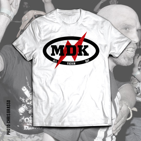 "NICK GAGE ""MDK"" White Soft T-Shirt"