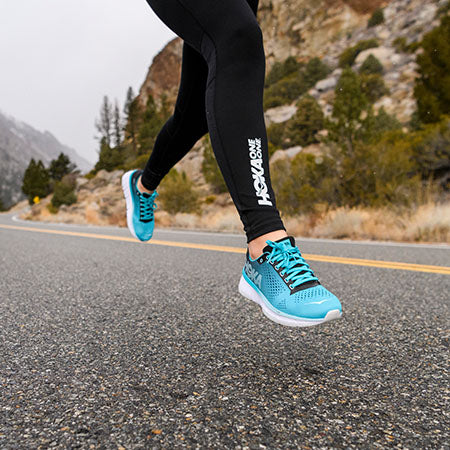 Woman running in comfortable shoes