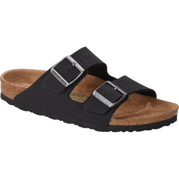 Quarter view Women's Birkenstock Footwear style name Arizona Vegan Birkibuc Regular in color Black. Sku: 1019115