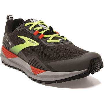 Quarter view Men's Brooks Footwear style name Cascadia 15 Medium in color Black/ Raven/ Cherry Tomato. Sku: 110340-1D076