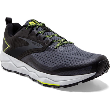 Quarter view Men's Brooks Footwear style name Divide 2 Medium in color Black/ Ebony/ Nightlife. Sku: 110355-1D029