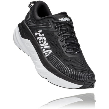 Women's Hoka Bondi 7 in Black/ White. Sku: 1110519BWHT