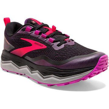 Quarter view Women's Brooks Footwear style name Caldera 5 Medium in color Black/ Fusia/ Purple. Sku: 120341-1B020