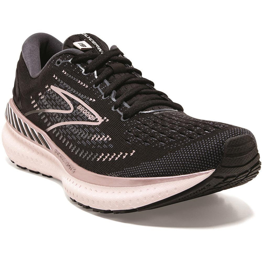 Quarter view Women's Brooks Footwear style name Glycerin GTS 19 Medium in color Black/ Ombre/ Metallic. Sku: 120344-1B074