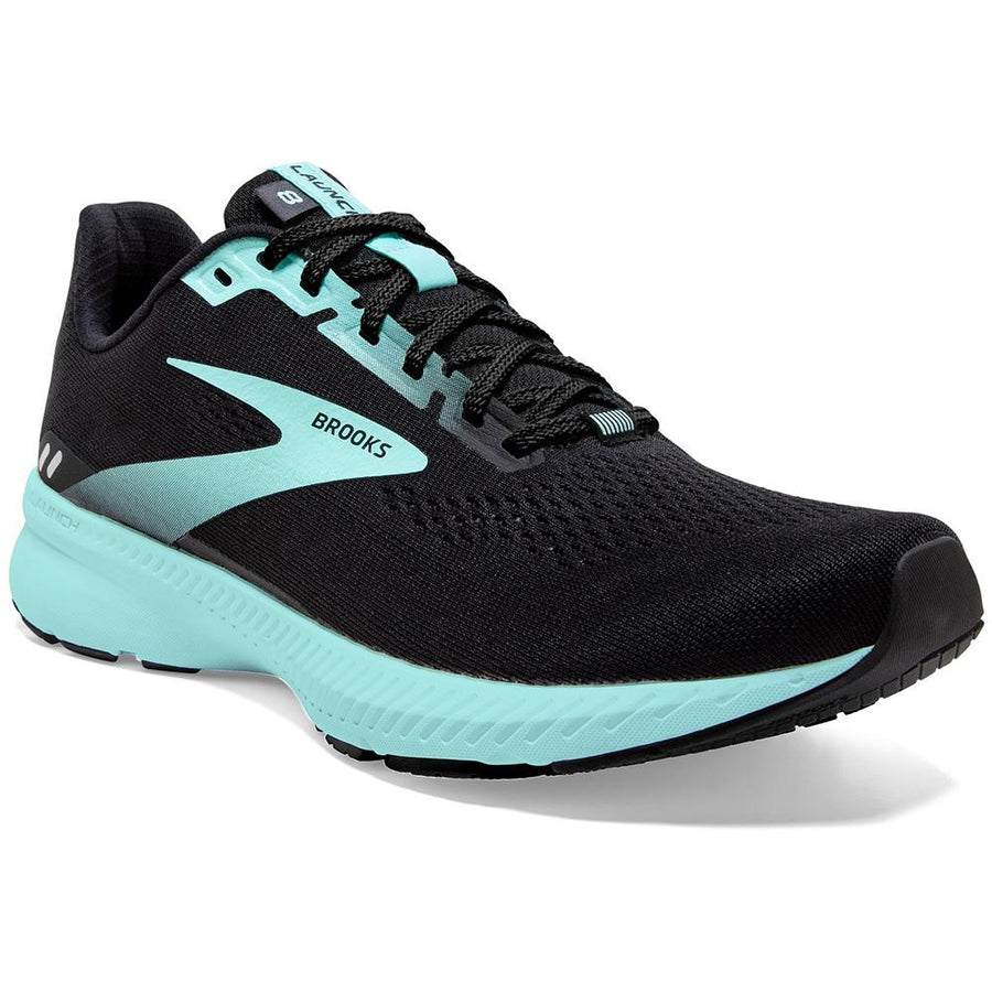 Quarter view Women's Brooks Footwear style name Launch 8 Wide in color Black/ Ebony/ Blue Tint. Sku: 120345-1D096