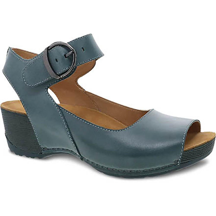 Quarter view Women's Dansko Footwear style name Tiana in color Teal Burnished Calf. Sku: 1705-191900