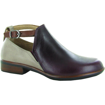Women's Naot Kamsin in Bordeaux Leather/ Soft Stone Leather/ Soft Chestnut Leather sku: 26042-RDE