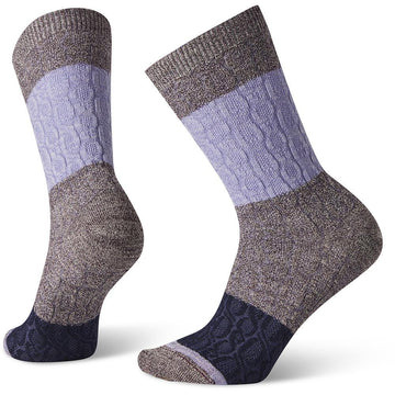Quarter view Women's Smartwool Sock style name Everyday Color Block Cable Crew in color Bordeaux. Sku: SW005004590