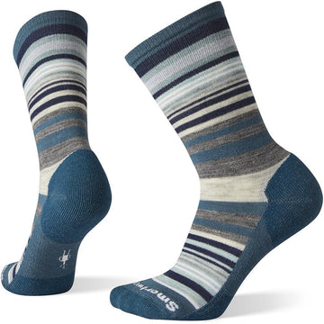 Quarter view Women's Smartwool Sock style name Everyday Jovian Stripe Crew in color Dark Prussian Blue. Sku: SW0SW599F12