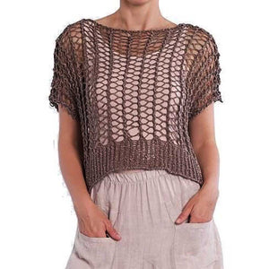 BK Moda Crochet Short Sleeve Top