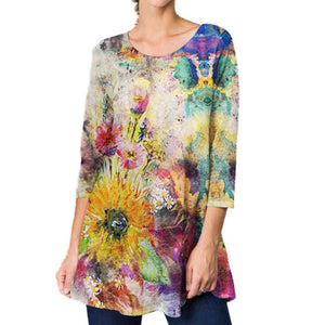 ET'Lois Scattered Flowers Tunic